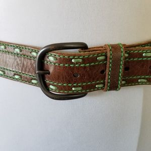 Brown Leather Belt with Green Stitch